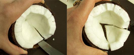 scoaterea miezului de nuca de cocos